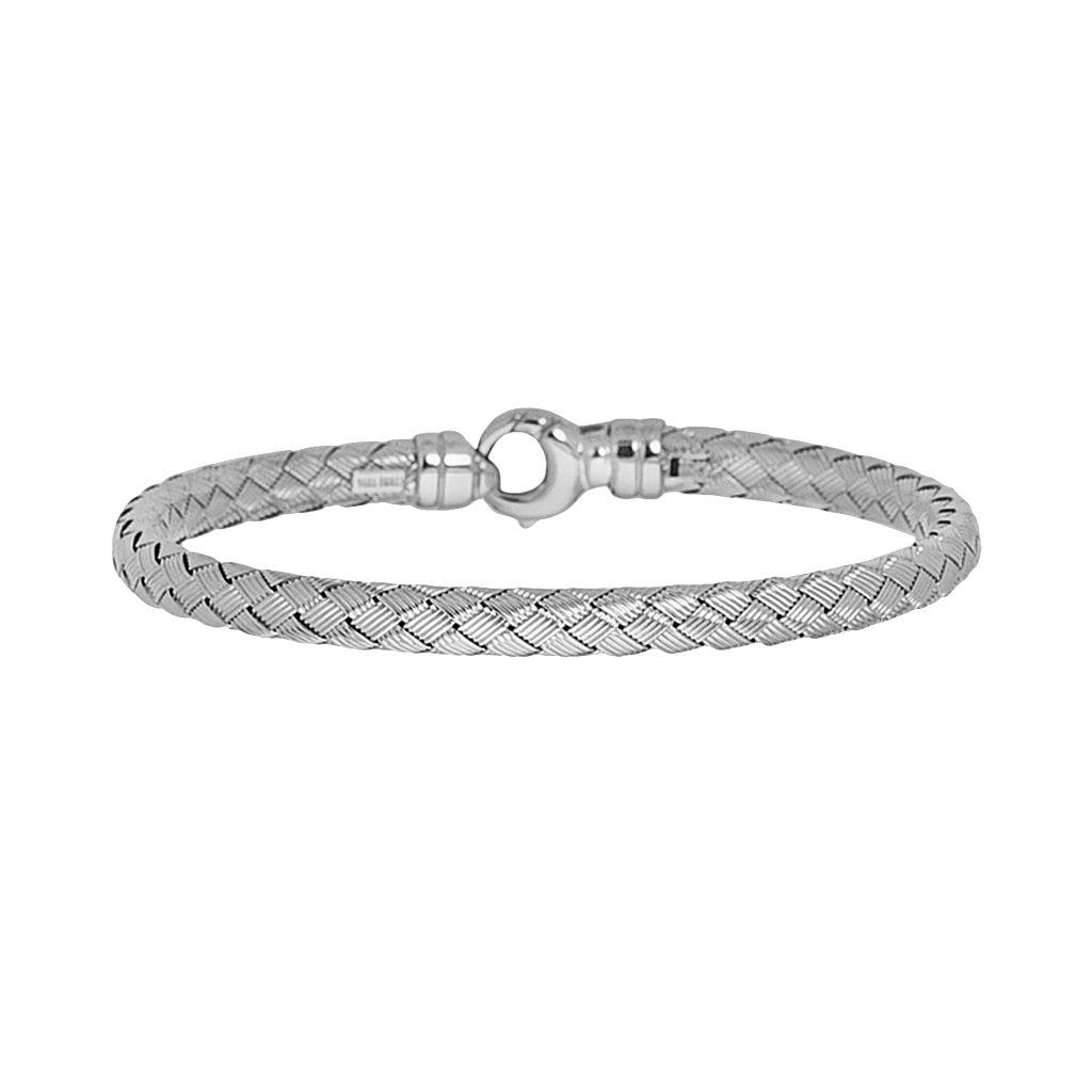 Sterling Silver Basket Weave Chain Bracelet