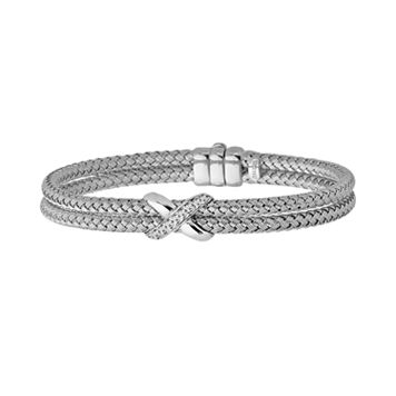 Sterling Silver Diamond Accent X Basket Weave Bracelet