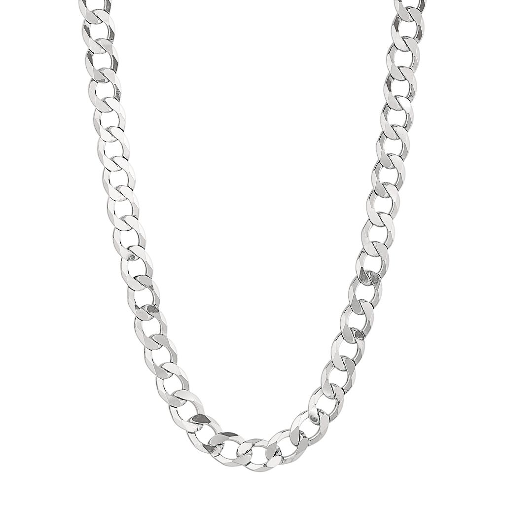 Sterling Silver Curb Chain Necklace -20-in. - Men