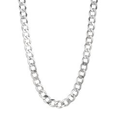 Sterling Silver Curb Chain Necklace -24 in - Men