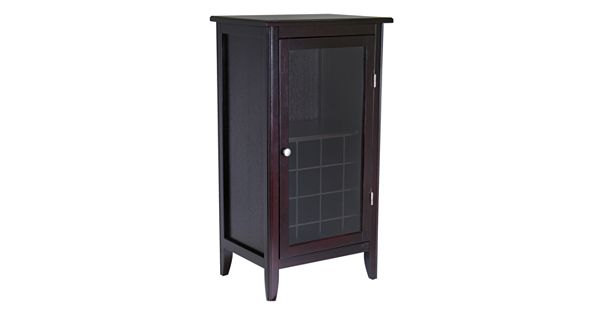 Winsome glass door 16 bottle wine cabinet for 16 bottle wine cabinet with glass door espresso