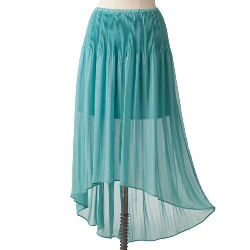 LC Lauren Conrad Pleated Chiffon Hi-Low Skirt