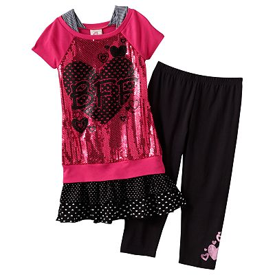 Knitworks Mock-Layer BFF Top and Leggings Set - Girls 7-16