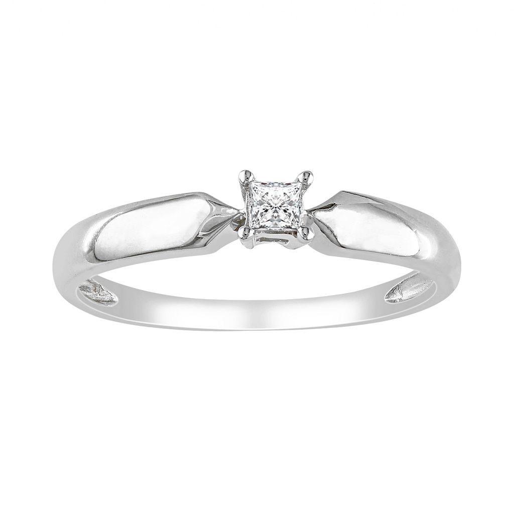 Sterling Silver 1/10-ct. T.W. Round-Cut Diamond Solitaire Ring
