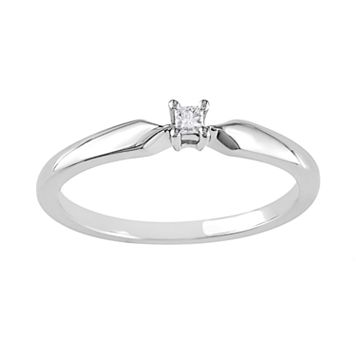 Sterling Silver Princess-Cut Diamond Accent Solitaire Ring