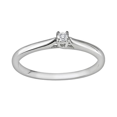 Sterling Silver Diamond Accent Solitaire Ring