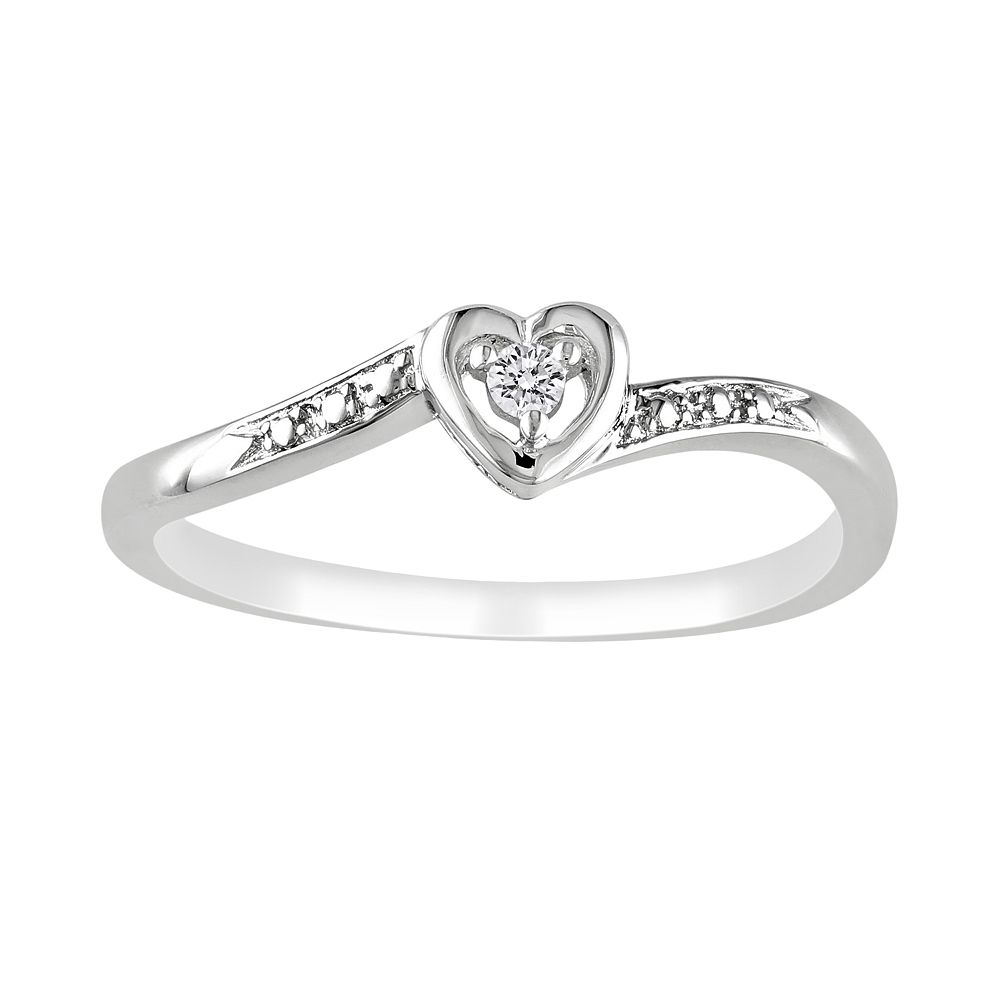 Stella Grace Sterling Silver Diamond Accent Heart Ring