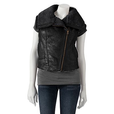 Mudd Sherpa Faux-Leather Moto Vest - Juniors