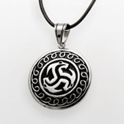 Stainless Steel and Black Leather Disc Pendant - Men