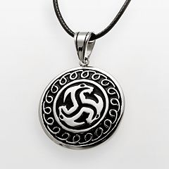 Stainless Steel & Black Leather Disc Pendant - Men