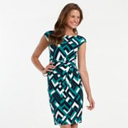 Chaps Geometric Pintuck Dress