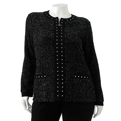 Cathy Daniels Embellished Boucle Cardigan - Women's Plus