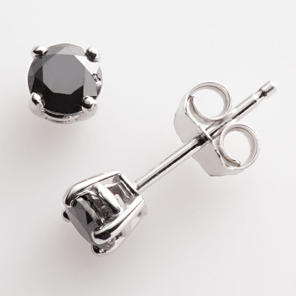 Sterling Silver 1/2-ct. T.W. Black Round-Cut Diamond Stud Earrings