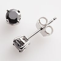 Sterling Silver 1/2-ct. T.W. Black Round-Cut Diamond Stud Earrings