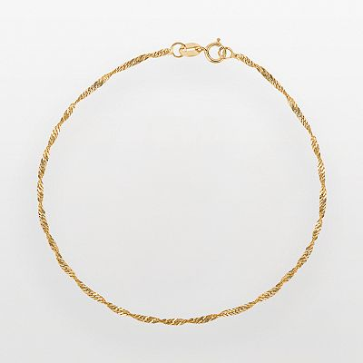 10k Gold Singapore Chain Bracelet - 7-in.