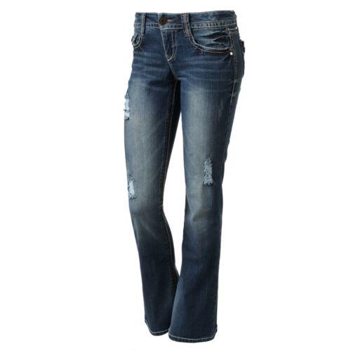 Wallflower Destructed Bootcut Jeans - Juniors