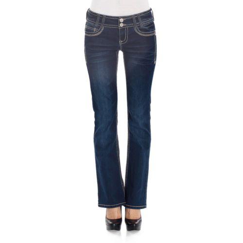 Wallflower Rhinestone Curvy Bootcut Jeans - Juniors