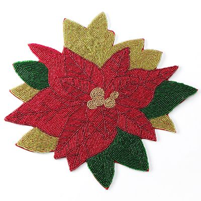 St. Nicholas Square Poinsettia Beaded Placemat