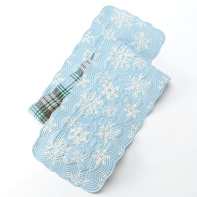 St. Nicholas Square Snowflake Quilted Reversible Table Runner