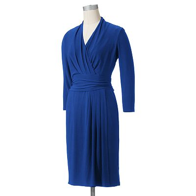 Chaps Surplice Ruched Dress - Women's Plus
