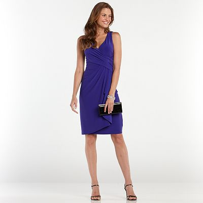 Chaps Surplice Faux-Wrap Dress - Women's Plus