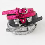 Fantasia 3-pk. Glitter Butterfly Skinny Belts - Girls
