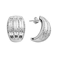 Silver Plated 1-ct. T.W. Diamond Stripe C-Hoop Earrings