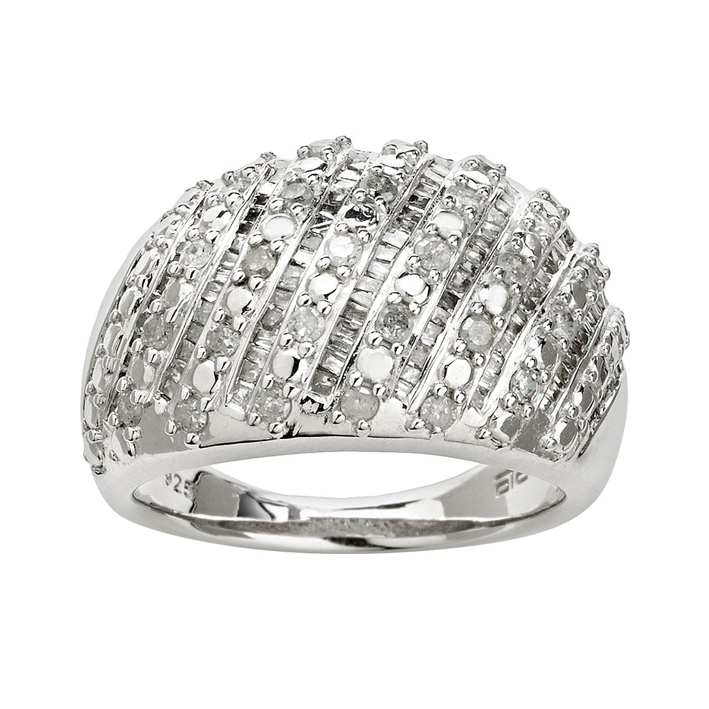 Silver Plated 1-ct. T.W. Diamond Stripe Dome Ring