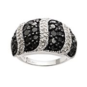 Silver Plated 2 ctT.W. Black & White Diamond Striped Dome Ring