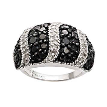 Silver Plated 2-ct. T.W. Black & White Diamond Striped Dome Ring