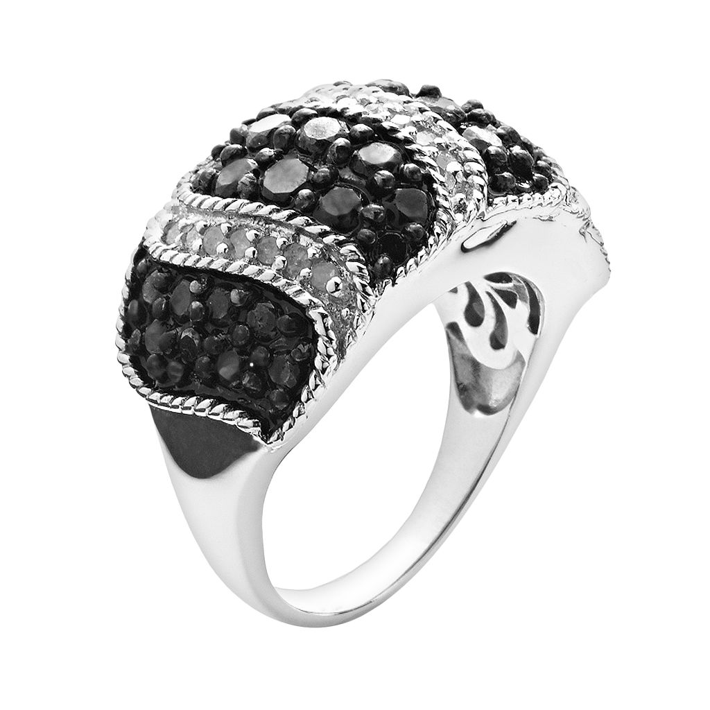 Silver Plated 2-ct. T.W. Black and White Diamond Striped Dome Ring