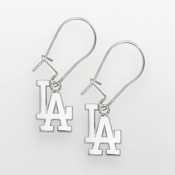 LogoArt Los Angeles Dodgers Sterling Silver Logo Drop Earrings