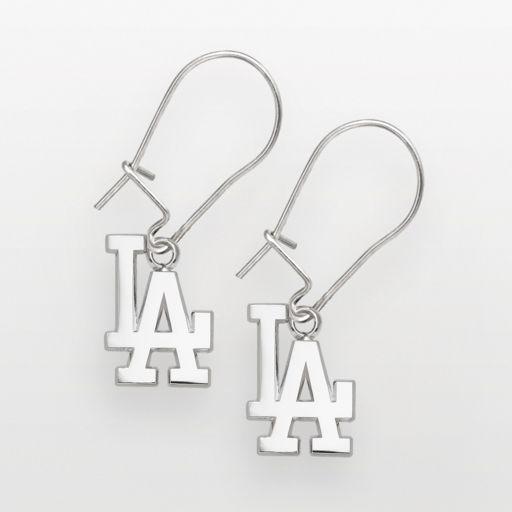 LogoArt Los Angeles Dodgers Sterling Silver Logo Drop Earrings