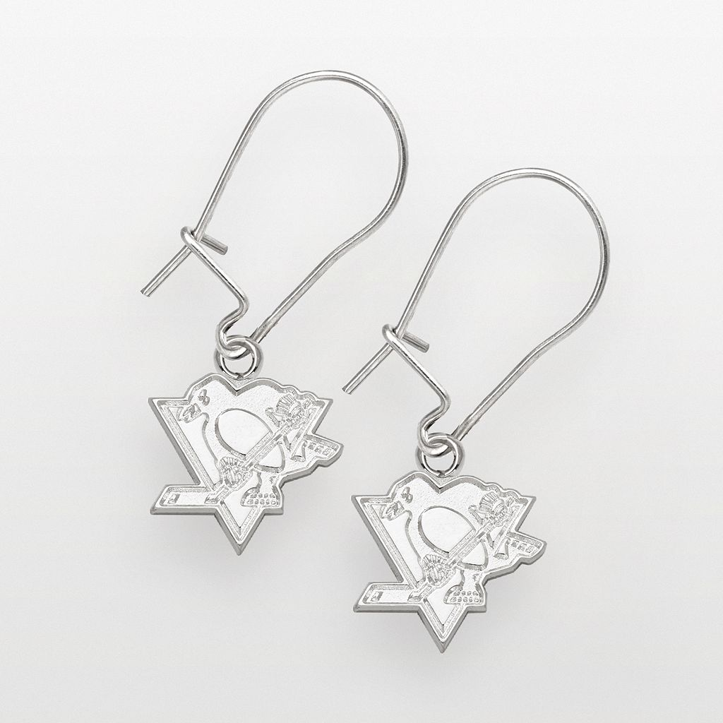 LogoArt Pittsburgh Penguins Sterling Silver Logo Drop Earrings