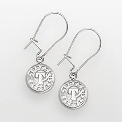 LogoArt Texas Rangers Sterling Silver Logo Drop Earrings