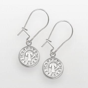 LogoArt Texas Rangers Sterling Silver Logo Drop Earrings