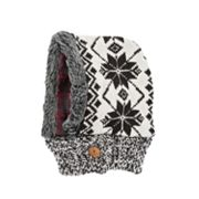 MUK LUKS Classic Snowflake and Plaid Reversible Hood