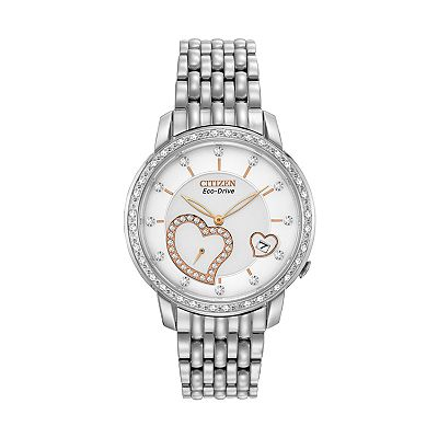Citizen Eco-Drive Desire Stainless Steel Diamond Accent Heart Watch - EV1000-58A - Women