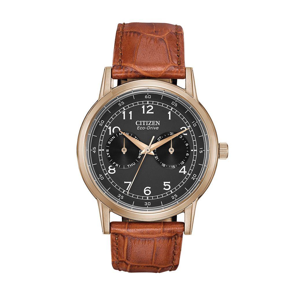 Citizen Eco-Drive Men's Leather Watch - AO9003-08E