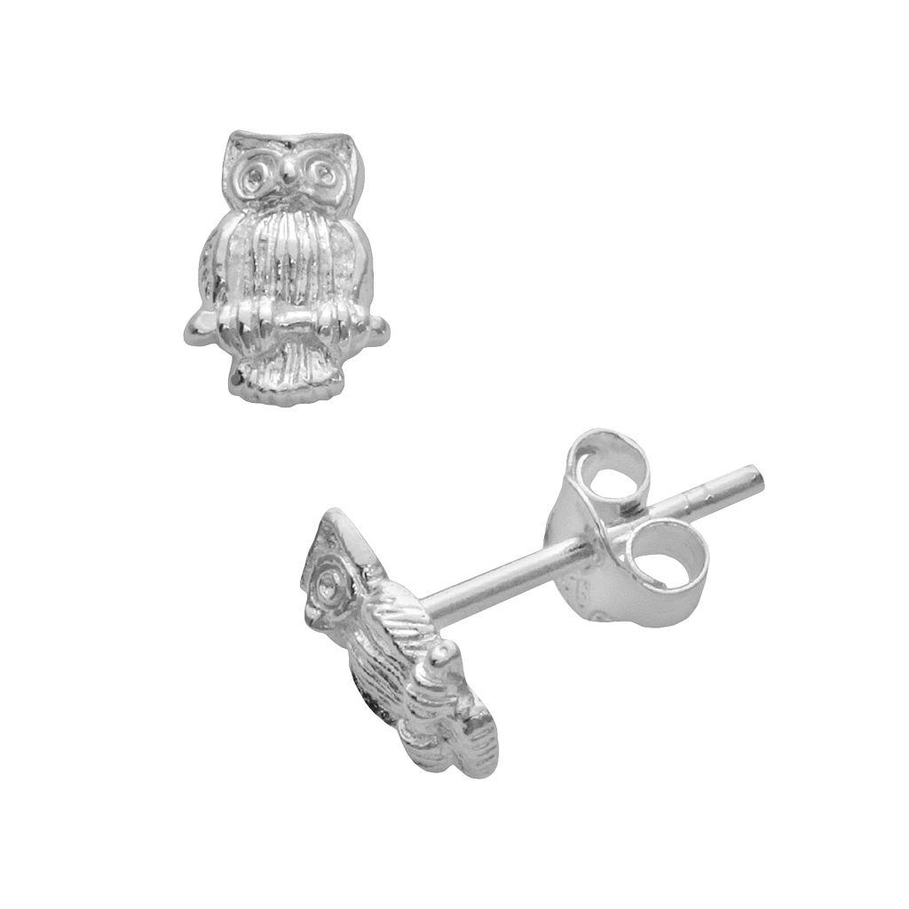 Itsy Bitsy Sterling Silver Owl Stud Earrings