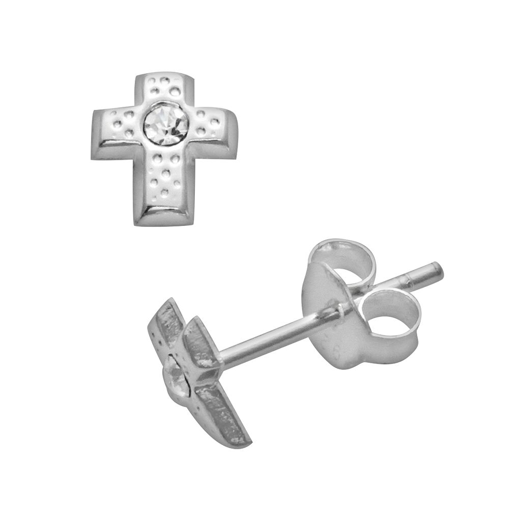 Itsy Bitsy Sterling Silver Simulated Crystal Textured Cross Stud Earrings