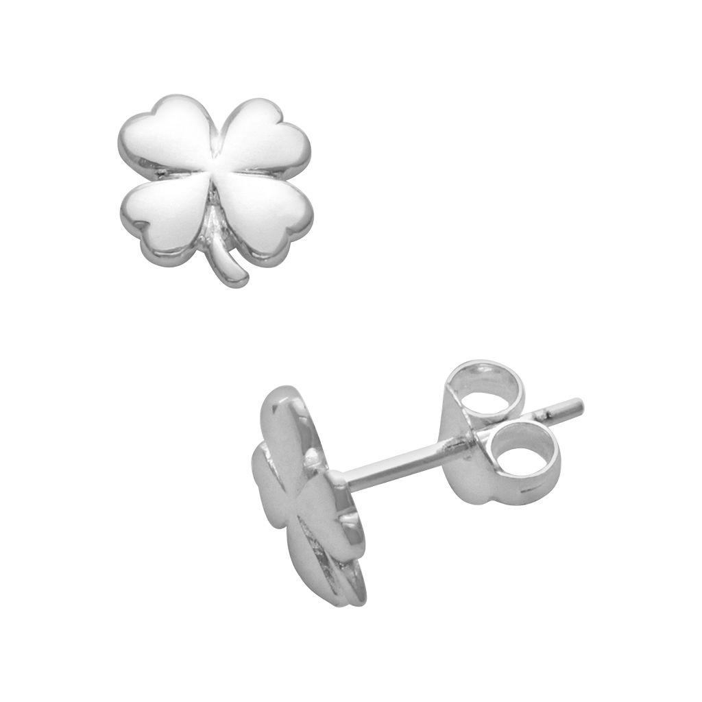 Itsy Bitsy Sterling Silver Clover Stud Earrings
