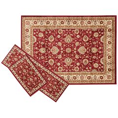 KHL Rugs Traditional Floral 3 pc Rug Set - 5' x 7'