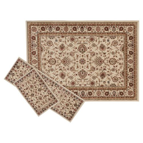 KHL Rugs Traditional Ivory Floral 3-pc. Rug Set