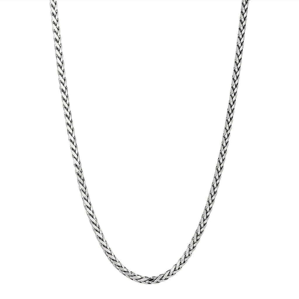 Sterling Silver Wheat Chain Necklace - 24-in. - Men