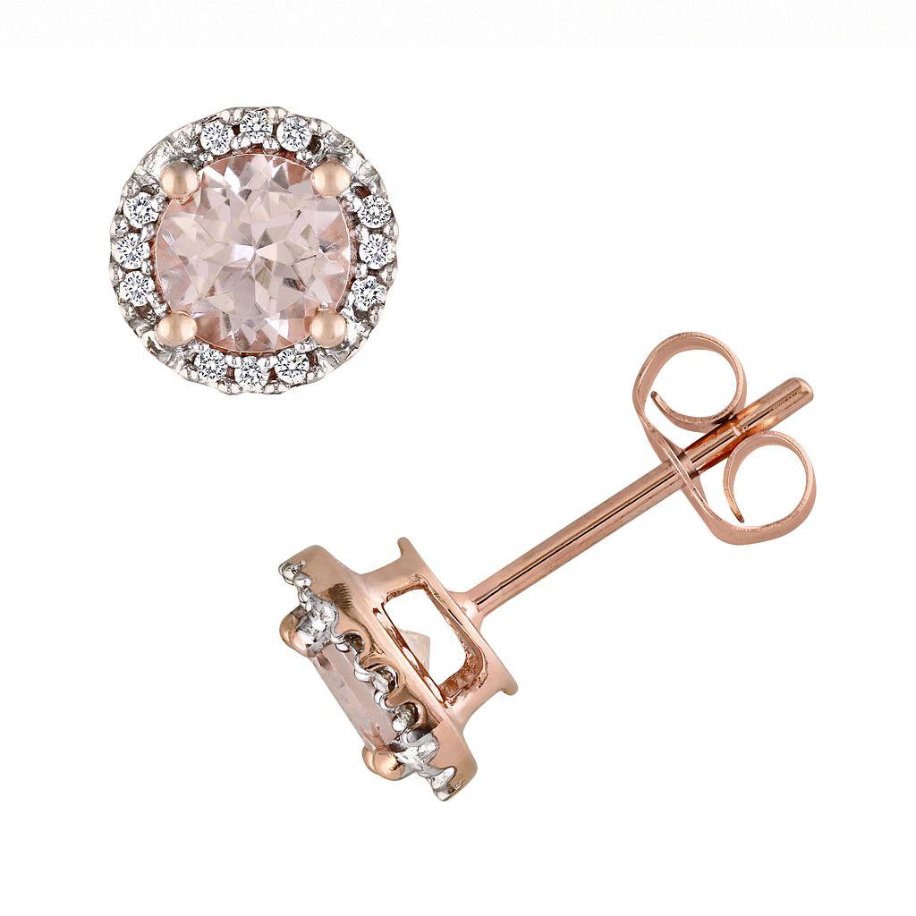 10k Rose Gold Morganite & Diamond Accent Stud Earrings