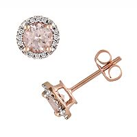 10k Rose Gold Morganite & Diamond Accent Stud Earrings