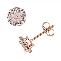 Stella Grace 10k Rose Gold Morganite and Diamond Accent Stud Earrings