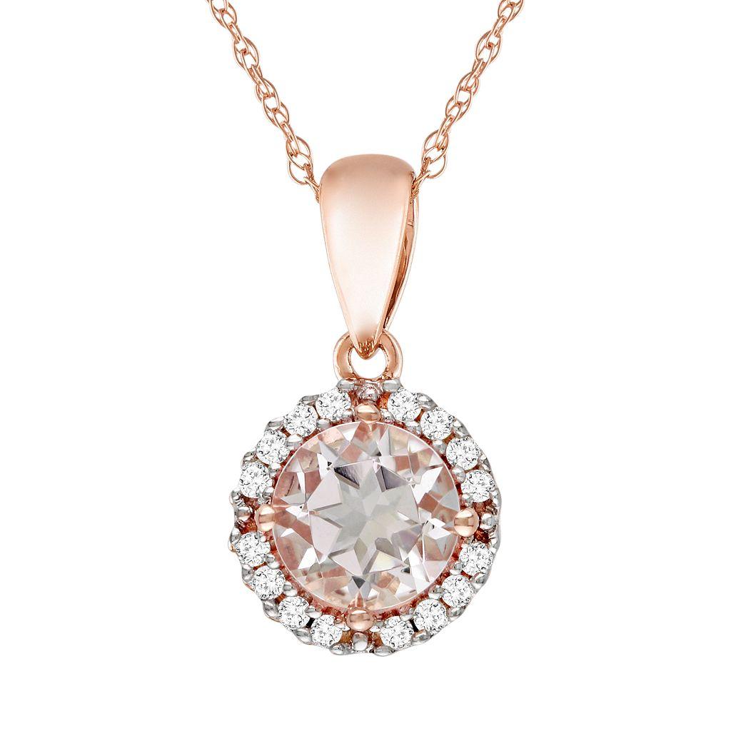 10k Rose Gold Morganite & Diamond Accent Pendant
