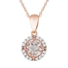 10k Rose Gold Morganite & Diamond Accent Pendant